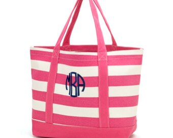 Canvas Tote Bag - Pink Stripe