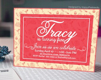 Printable Birthday invitation, birthday party invitation, printable birthday invitation, birthday invite