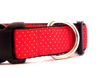 Red Dog Collar, Red Polka Dot Collar, Red Christmas Collar, Christmas Dog Collar, Red Dog Collar, Red and Gold Collar