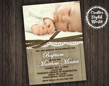 Rustic Baptism Invitation Personalized Printable Boy Girl Picture Photo Wood Canvas Lace Ribbon Communion Cross Christening Custom Printable