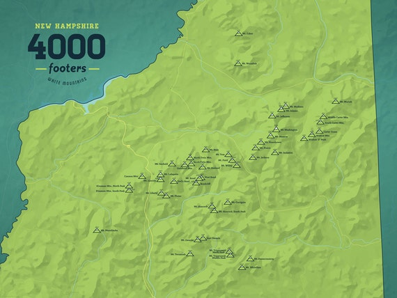 New Hampshire 4000 Footers Map 18x24 Poster By BestMapsEver