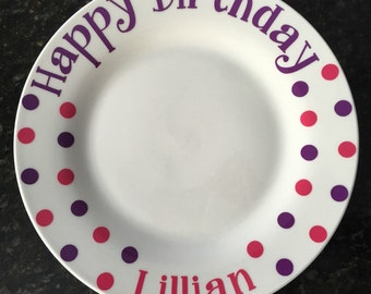 Polka Dot, Personalized, Birthday Plates! You are Special Plate- Fun-Birthday Gift-Siblings-New Baby-Kids-Boys-Girls-Mix & Match Colors!