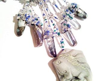 Stone lizard, blue white grey gemstones handmade beading necklace,exclusive blue white grey carved gemstone lizard necklace gift for her