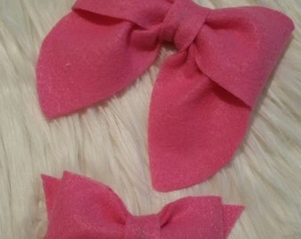 set big and little sister combo bows, fieltro bows, little and big sister, you choose color