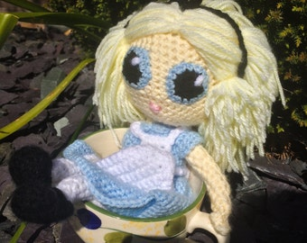Alice from Alice in Wonderland Crochet Doll