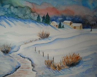 Watercolour winter landscape