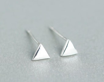 sterling triangle earrings, geometric earrings, triangle stud earrings