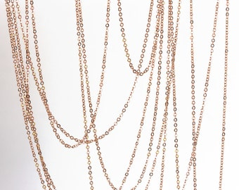 2150_Rose gold chain 1.8mm х 2mm, Gold plated chain, Rolo link chain, Brass chain, Jewelry findings, Anchor chain for jewelry making_1 m.