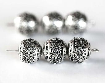 1750_Metal beads 11x10 mm, Round silver beads, Spacer beads, Flower pattern beads, Round spacer beads, Beads for jewelry, Metal beads_10 pcs