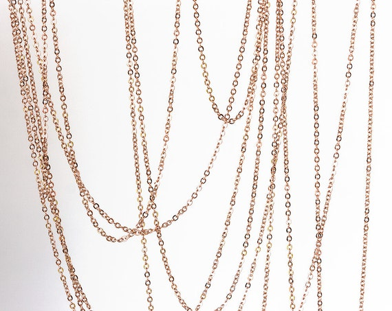 2150 Rose gold chain 18mm 2mm Gold plated chain Rolo link chain