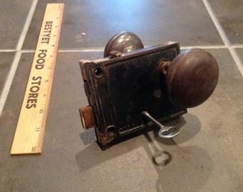 Antique Rim Lock Door Knob Set    C