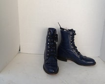 sz 5 B vintage dark blue leather justin lace up granny combat boots