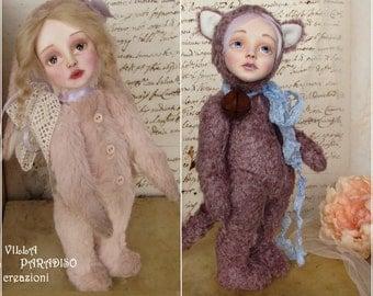 OOAK, Art Teddy Doll fantasy animal dolls Bunny Doll or Cat Doll, fantasy doll