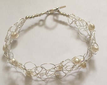 White Fresh Water Pearl Wire Crochet Bracelet With Glass Crystal Beads