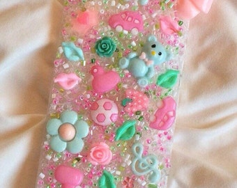 SWEET LOVELY IPHONE 5/5S case decoden kawaii bling pink green. Ready to ship.