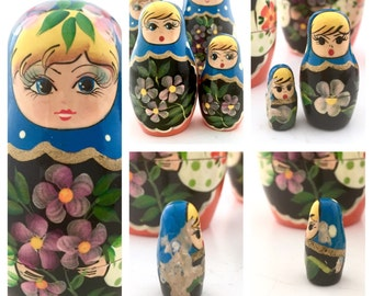 Springtime Nesting Doll Set of Five Vintage Matryoshka Dolls, Belarus Belarusian Floral themed Babushka Dolls.