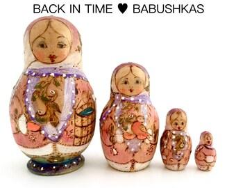 Christmas Nesting Doll, Hanukkah, Winter Nesting Dolls, Vintage Nesting Dolls. Miniature Art Doll, Matryoshka, Babushka. Pyrography & Gold.