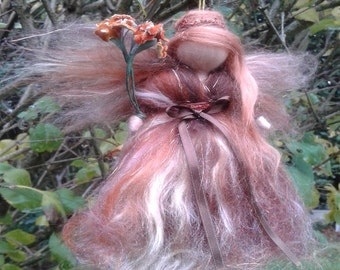 Needle felted fairy inspired Waldorf Fall colors