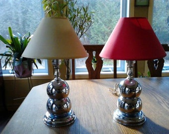 Vintage Pair of Retro Chrome Ball Table Lamps