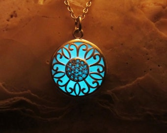 Glow in the dark// blue glow pendant with sterling silver chain