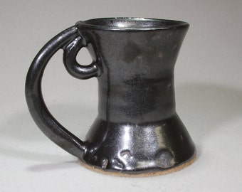 Black Get-Keep-Grow Stoneware Ceramic Mug with Feedback Loop Handles.