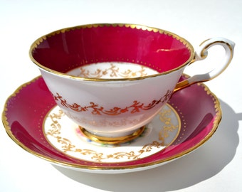 Vintage TUSCAN Fine English Bone China  Tea cup with  saucer, Finest Vintage  China, Porcelain tea cup, Burgundy, Gold and flowers tea cup