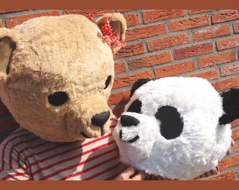 Couples costume. Panda & Teddy Bear Masks (one of each head). Fake fur handmade animal masquerade costume, giant bear mask. His and Her.