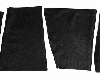 4 Leather Scraps Black 1mm Thick - Reclaimed Vintage 1980s - 2.6 oz Total - Recycled