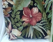 Realistic Island Botanical Lined Tote with Linen Silk Straps Interior Pockets 15 x 15