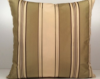Beige Pillow, Striped Pillow, Warm Lime Green Pillow, Throw Pillow Cover, Decorative Pillow Cover, Cushion Cover, Accent Pillow, Polyester