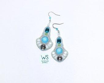 Dangle Earrings. Long earrings handmade. Earrings from beads and crystal glass stones. White, azure blue, light gray.