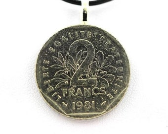 "Pendant Necklace Coins "" France "" 2 francs Semeuse + black leather cord . SKU007076"