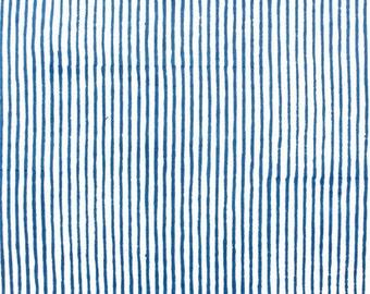 Blue Stripe Hankies Hand Block Printed on Organic Cotton