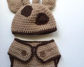 Hand Crocheted Baby Hat and Diaper Cover Set in Acrylic Yarn - Giraffe