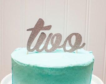 "Smash Cake ""TWO"" Glitter Cake Topper or Centerpiece Pick"
