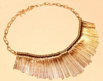 Chic tassle gold bib necklace
