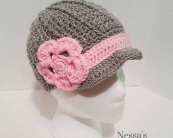 Crochet Newsboy girl hat