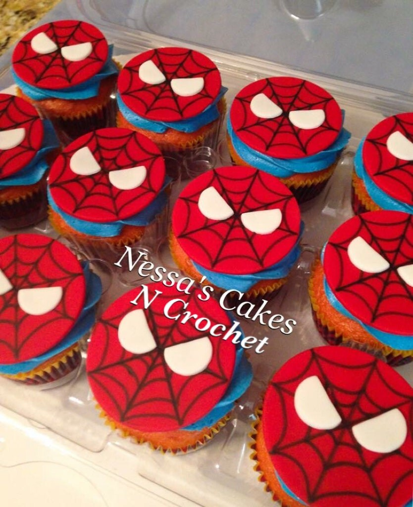Fondant spiderman cupcake toppers - photo#18