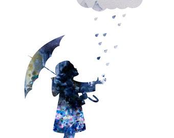 Girl With Umbrella - Instant Download Print - Digital Wall Poster - Watercolor Art Print - Home Decor