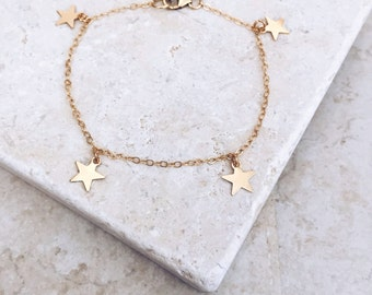 Delicate bracelet, gold filled bracelet, star bracelet, gift for her, bridesmaids gift, gold star, delicate jewelry