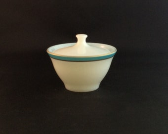 Vintage Pyrex White with Turquoise Band Sugar Bowl
