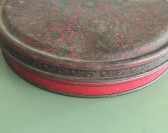 Vintage Red Metal Tin Mid Century Rustic