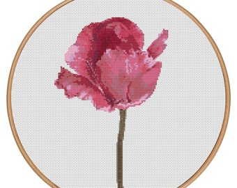 MORE for FREE - Red Tulip - Counted Cross stitch pattern PDF - Instant Download - Cross Stitch Pattern - Flowers - Love - Needlepoint- #1508
