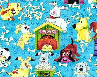 In The Doghouse Aqua/Turquoise Quilting Fabric - Fat Quarter Yard
