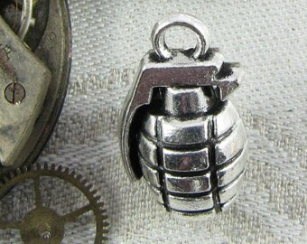 Set of (4) Silver Hand Grenade Charms 4 per package SYM067