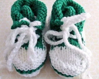 Hand Knitted Green Baby Hightop Sneaker Booties – for ages 0-3 months