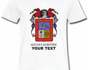 Aguascalientes Mexico T-shirt V-Neck Tee Vapor Apparel with a FREE custom text(optional)