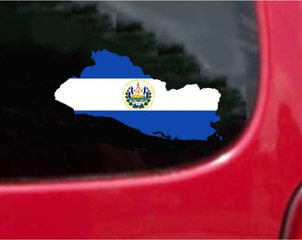 2 Pieces El Salvador Outline Map Flag Vinyl Decals Stickers Full Color/Weather Proof. U.S.A Free Shipping