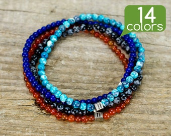 Beaded wrap bracelet - Seed bead bracelets, Hippie bracelets, Tribal bracelet with small beads and silver plated bead. 14 colors!