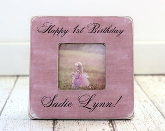 First Birthday GIFT Personalized Picture Frame Baby's First Birthday Birthday Party Decor Table Frame Party Gift